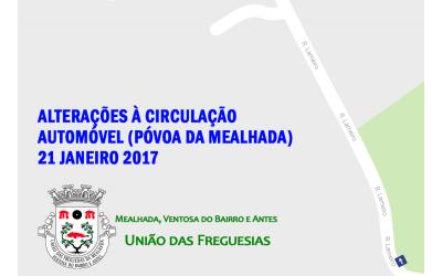 Alterações à circulação automóvel na Póvoa da Mealhada