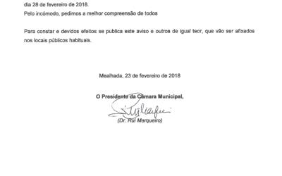 AVISO – Câmara Municipal da Mealhada, 23.02.2018