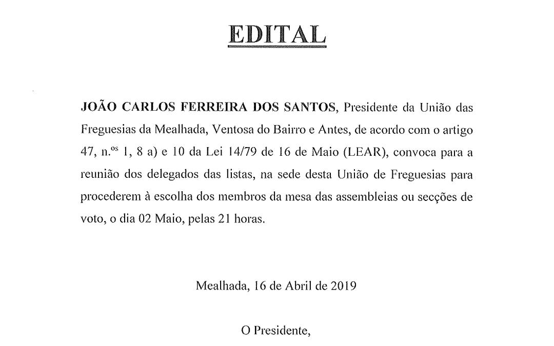 EDITAL 16-04-2019 – Convocação de delegados das listas – Eleições Europeias 2019