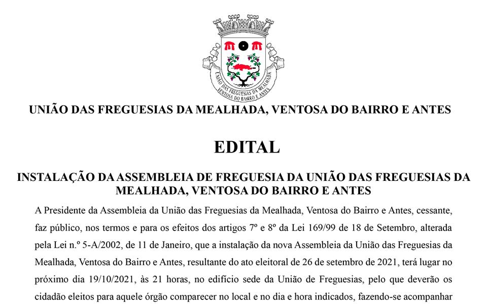 EDITAL – Tomada de Posse Assembleia Freguesia 2021