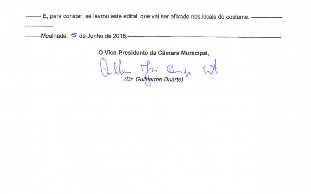 Condicionalismo Trânsito – Rua do Grupo Desportivo – Mealhada – Edital n.º 58/2018